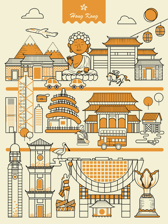 attractive Hong Kong travel elements collection in thin line style