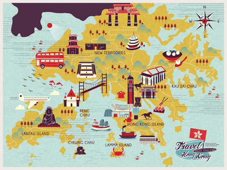 HONG KONG: attractive Hong Kong travel map with attractions icons in flat design