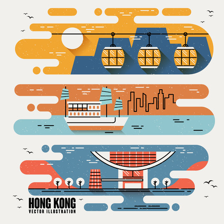 hong kong night: Hong Kong famous attractions in lovely flat design style