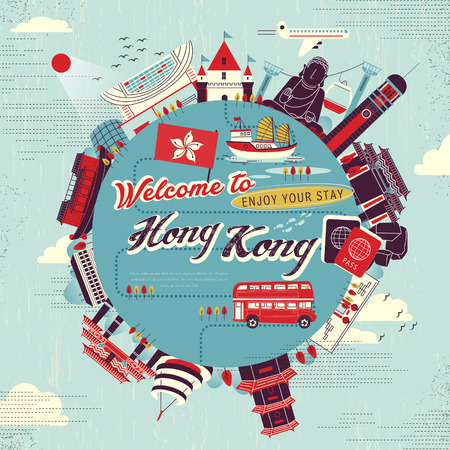 creative Hong Kong tour concept poster design in flat style