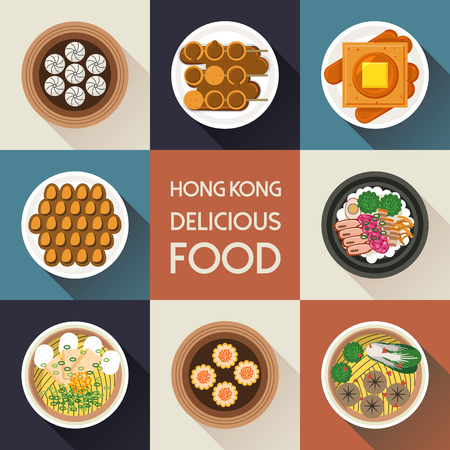 french toast: top view of delicious Hong Kong dishes collection in flat style