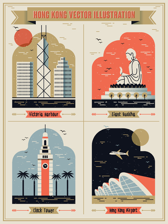 Hong Kong famous attractions set in lovely flat design style Illustration