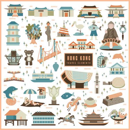 hong kong: adorable Hong Kong travel elements collection in flat design Illustration
