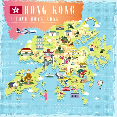 bouddha: I love Hong Kong carte conceptuelle de Voyage avec des attractions icônes de design plat