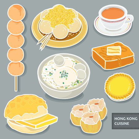 delicious Hong Kong dessert collections in flat style