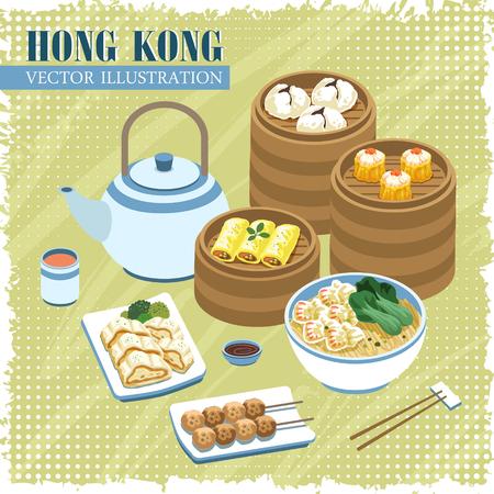 botanas: deliciosa Hong Kong Cocina cartel colección en estilo plano