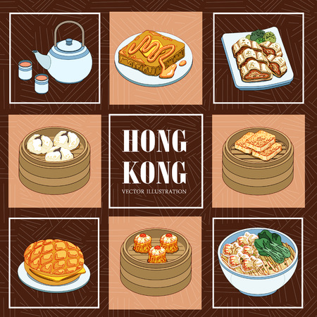 hongkong: delicious Hong Kong cuisines collection in flat style