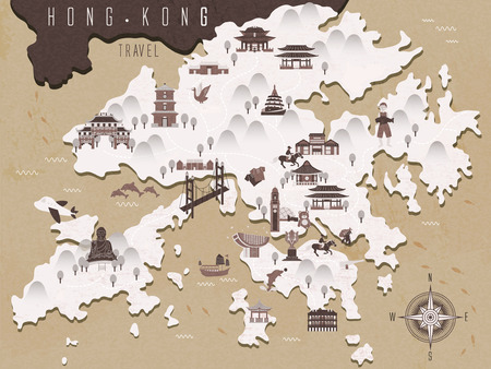 hong kong: retro Hong Kong travel map in Chinese ink style