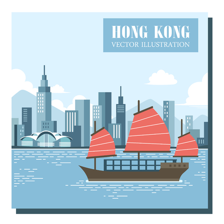 HONG KONG: attractive junk boat tour concept in flat design