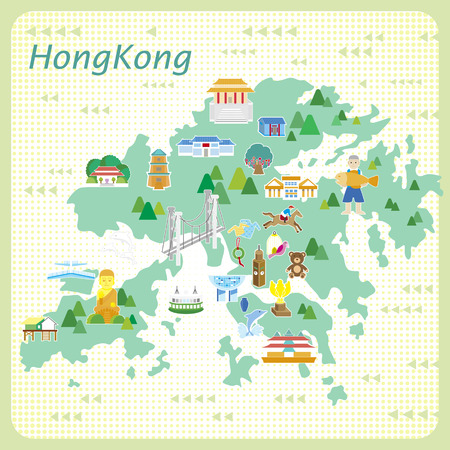sea horse: attractive Hong Kong travel map in flat style Illustration