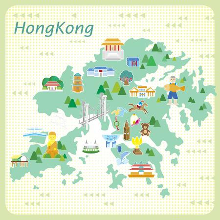 cavallo in corsa: attraente mappa di Hong Kong in stile piatto