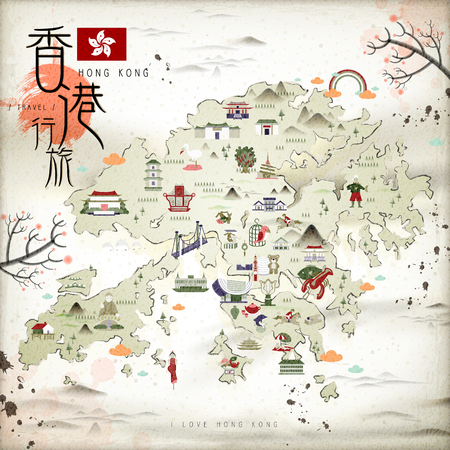 style traditional: Chinese ink style Hong Kong travel map with attractions icons in flat design