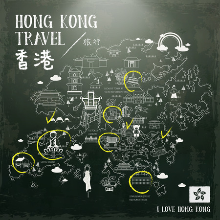 blackboard background: creative Hong Kong travel map drawn on blackboard Illustration