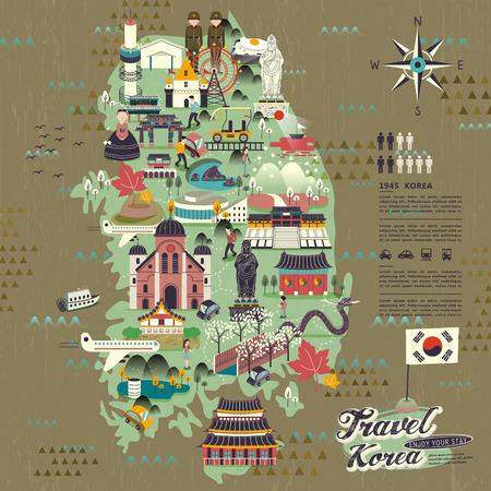 wunderbare Südkorea Reise-Karte mit Sehenswürdigkeiten Design