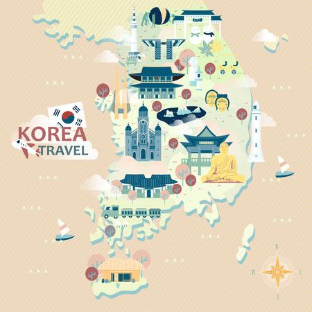 Adorabile mappa di Corea del Sud con attrazioni colorate Archivio Fotografico - 47449669
