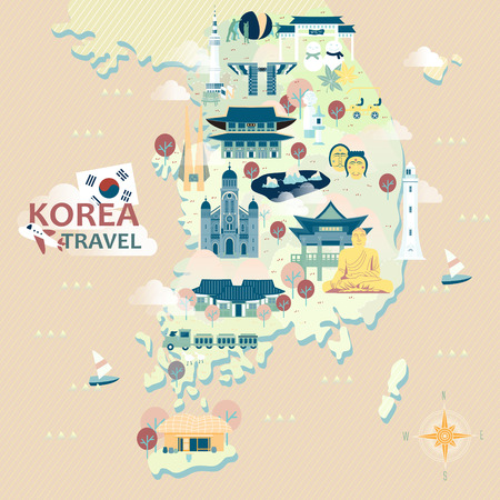 attractive: adorable South Korea travel map with colorful attractions