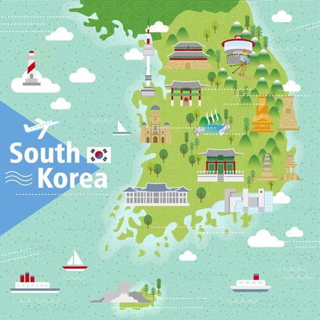 turista: adorabile mappa di Corea del Sud con attrazioni colorate Vettoriali
