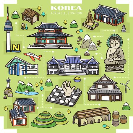 schattige Korea attracties collectie in de hand getekende stijl Stock Illustratie