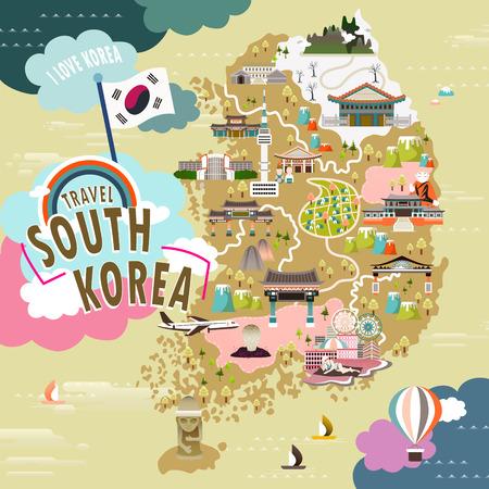 플랫 스타일의 사랑스러운 한국 여행지도 일러스트