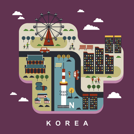 colorful background: South Korea travel concept design in flat design