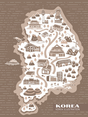 korea map: lovely Korea travel concept map in hand drawn style