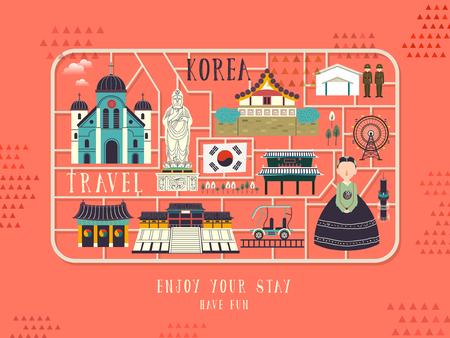 korea: creative South Korea travel concept poster in flat style Illustration