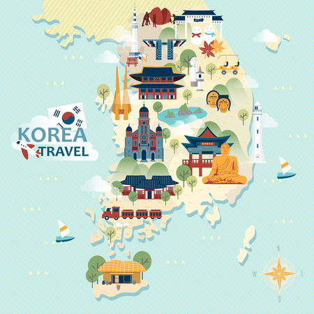 traditional: adorable South Korea travel map with colorful attractions