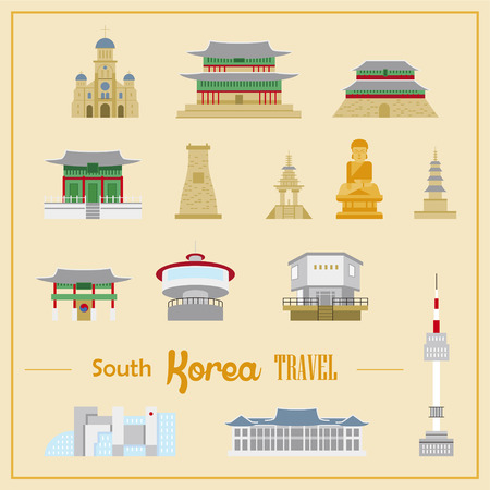 lovely South Korea architecture design collection in flat style Illustration