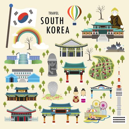 평면 스타일의 사랑스러운 한국 명소 컬렉션 일러스트