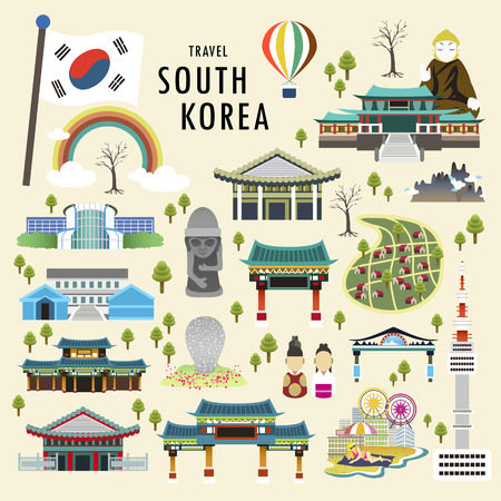 lovely South Korea attractions collection in flat style Ilustração