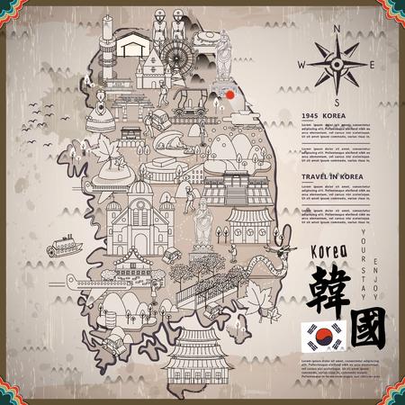 Zuid-Korea reizen kaart met attracties - rechtsonder is Korea in Chinees woord