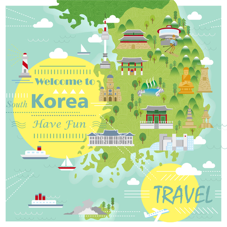 folk village: adorable South Korea travel map with colorful attractions