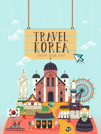 creative South Korea travel concept poster in flat style 일러스트