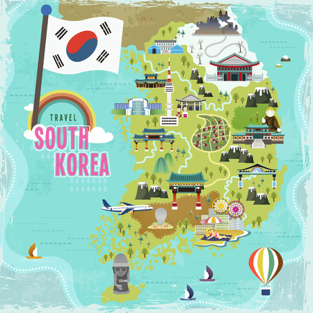 route map: lovely South Korea travel map in flat style