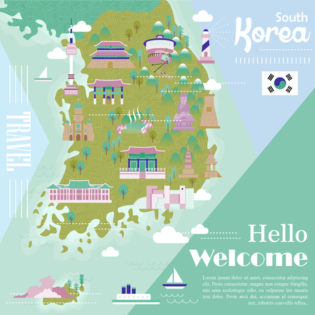 Adorable South Korea Travel Map With Colorful Attractions Royalty - Free us road map with points of interest