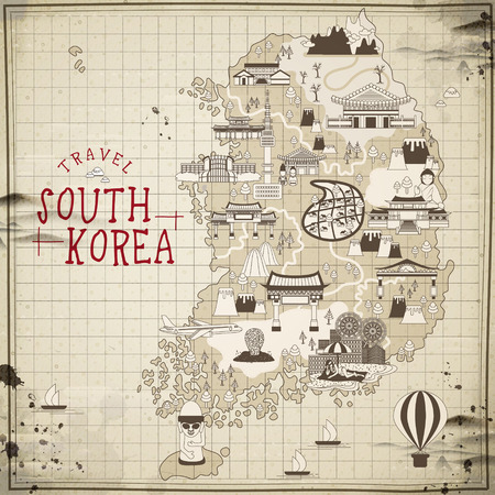 retro South Korea travel map in flat style