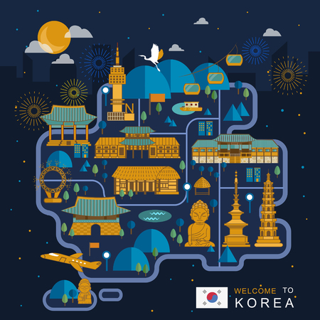fire works: fantastic South Korea night travel map design in flat style