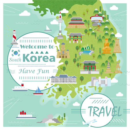 ski resort: adorable South Korea travel map with colorful attractions