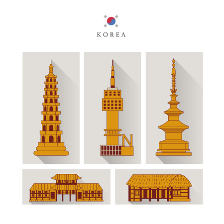 graceful: graceful South Korea architecture design collection in flat style Illustration