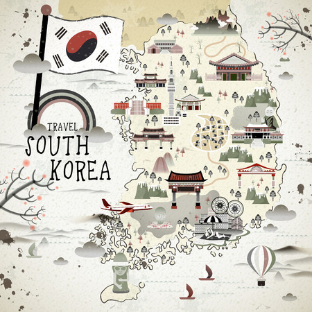 south korea flag: retro South Korea travel map in flat style