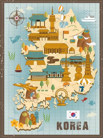 folk village: lovely South Korea travel map design in flat style
