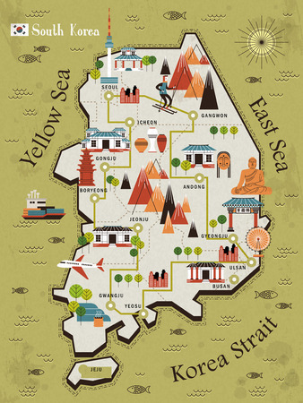 South Korea travel map in flat design - Bulguksa word in Chinese on the temple