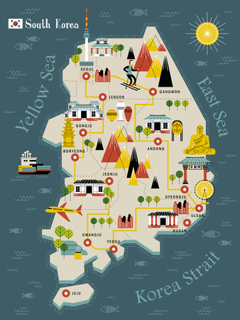modern South Korea travel map in flat design - Bulguksa word in Chinese on the temple Illustration