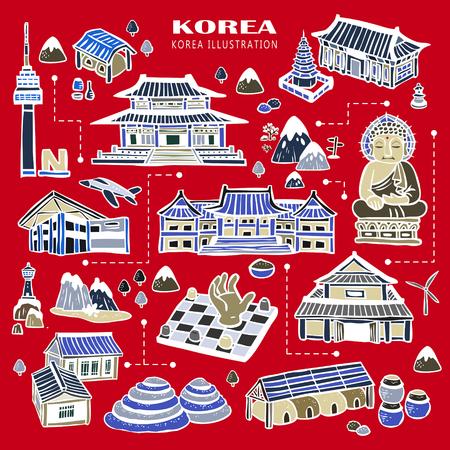background red: adorable colecci�n atracciones Corea del estilo dibujado a mano Vectores