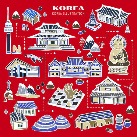 attractive: adorable Korea attractions collection in hand drawn style