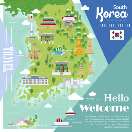 korea map: adorable South Korea travel map with colorful attractions