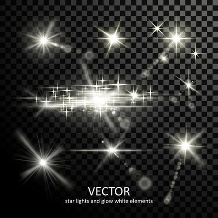 sparkles: gorgeous light sparkles collection on transparent background Illustration