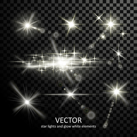 gorgeous light sparkles collection on transparent background Illustration