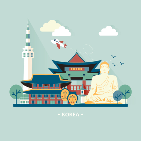 adorable Corée du Sud concept de Voyage Design avec des attractions colorées Vecteurs