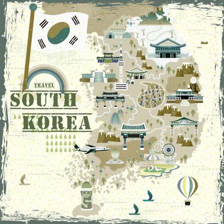 resort: lovely South Korea travel map in flat style